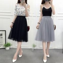 Mesh Pleated Skirt A- Line Skirt High-Waisted Skirt Tulle Skirt Woman Skirts Faldas Jupe
