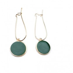 Vintage Green /Gold Circle Earrings
