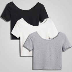 1PC Short Navel Top Ladies Short Sleeve O neck Sexy Crop Top Women Basic Simple All-match Solid Color Stretch T-shirts