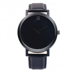 Leather Band Analog Alloy Watch