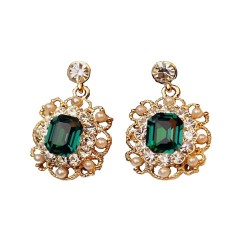 Latest Golden Hanging Green Earrings
