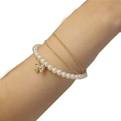 Three- Tier Pearl Crystal Bracelet For girl