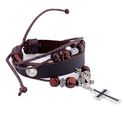 Double Cross Pendant Beaded Leather Bracelets
