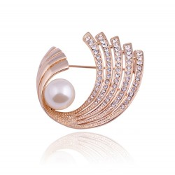 Fashion Safety Pin Clip in Crystal Pearl for Women & Girls