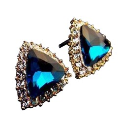 Fashion Women Rhinestone Blue Gem Stone Ear Stud Earrings Jewelry