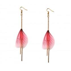 Pink Butterfly Wing Earrings