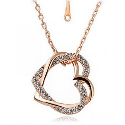 Rose Gold Plated Double Heart Pendant Necklace
