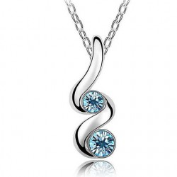 Fashion Snake Warp Silver with Gem Decor Necklace