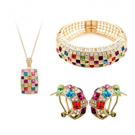 Preserved Gold Austrian Crystal Queen Necklace, Earrings, Bracelet Trio Set Jewelry