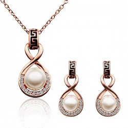 Simulated Pearl Jewelry Sets, Elegant Pearl Necklace Drop Earrings