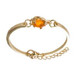 Golden Flower Crystal Rose Bangle For Women