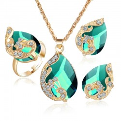 Water Drop Peacock Three-piece Jewelry Set
