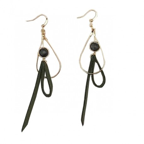 Women  Green And Gold Long Pendant Leather Earring