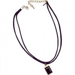 Double suede square diamond black stone collar Necklace