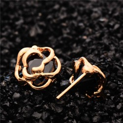 Cubic Zirconia Brilliant Hollow Stud Earring