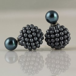 Double grape shape Pearl Stud Earrings