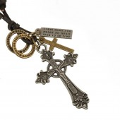 Alloy Cross Pendant Leather Necklace