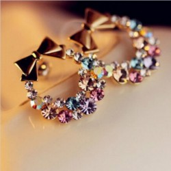 Imitation colorful rhinestones bow earrings