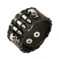 Head Bullets Large Leather Bracelet.