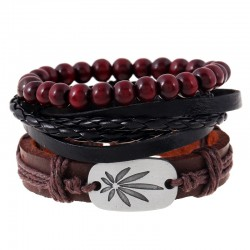 Fashion Weed Leather Wine Beads Bracelet