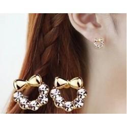Black bow crystal tie stud earring