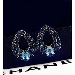 Blue Zircon stylish big Brincos earrings
