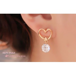 Korean luxury charm drop pierced earrings