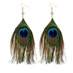 Retro Women Earrings Peacock Green Feather Earrings