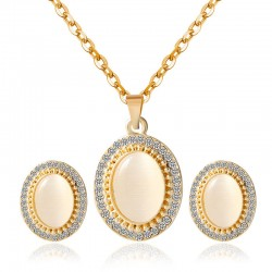 European necklace earrings natural fire opal jewelry sets.