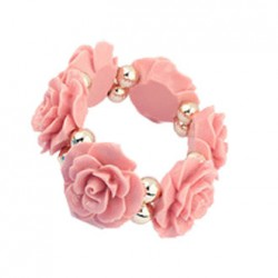 Vintage Resin Rose Flower Elastic Bracelet Casual Wrist Bangle