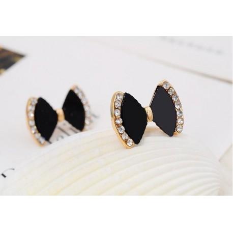 fashion rhinestones bow earrings for women