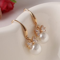 Fashion Gold Color Bow Earrings