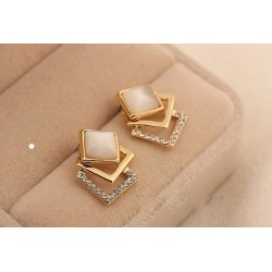 Geometry Square Opal Stud Earrings