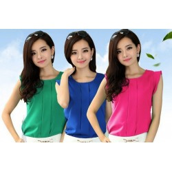 Short Sleeve Chiffon Solid Color Tops