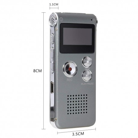 8GB Voice Recorder USB Rechargeable Dictaphone LCD Recorder with Multi functional Digital Audio and MP3 Player