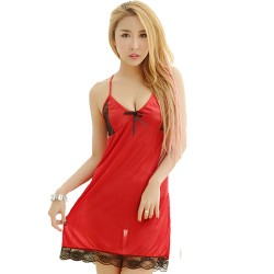 Romantic Sexy Lady Night Dress See-through Lace Sleepwear Night Gown