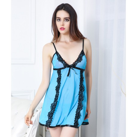 89584e23a4d7 Women s nightshirt Lingerie Sleepwear Set Sheer Lace Chemise Night Baby  doll Dress