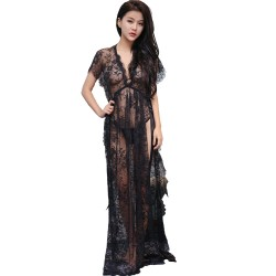 Fantasia Sexy Bride Wedding Role Negligee Night Gown Robe Sexy Lace Cloths