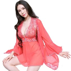 Women Front Open Lingerie Sleepwear Robe Set Ladies Sexy Lace Adult Nightgown Pajamas.