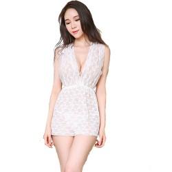 Women'S mini nightgown deep v neck strapless summer skirts, white lace nightdress.