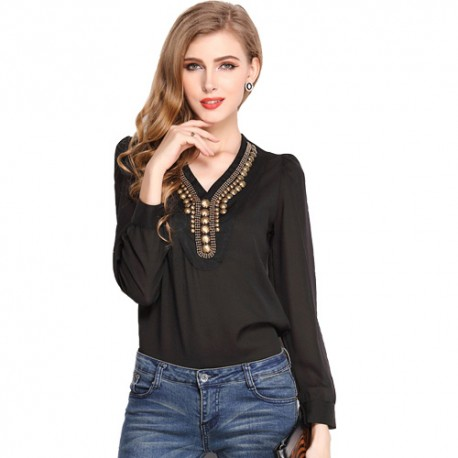 Korean Fashion Women's Long Sleeve Shirt V Collar Bronze Flat Studs Tops Black Blouse