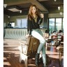 Korean Fashion Women's Long Sleeve Shirt V Collar Bronze Flat Studs Tops Black Blouse
