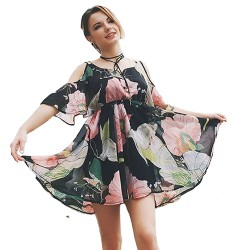 Women Summer Beach Dress Print Floral Off Shoulder Chiffon Bohemian Mini Dress