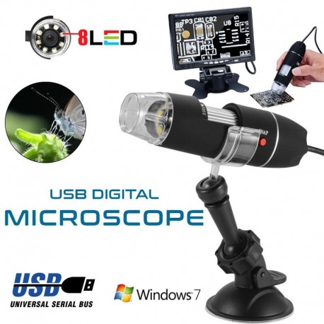 Portable USB 2.0 Digital Microscope 50 X-500 X 2 MP Video Camera 8-LED Practice Endoscope Magnifier With Holder