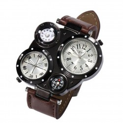 Watches Men's Sport Wrist Watch Dual Movement Compass Relogio Masculine Quartz Wristwatch