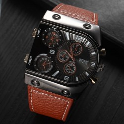 Luxury Brand Men Business Watches Clock 3 Sub-dials Leather Strap Stainless Sports  Watch