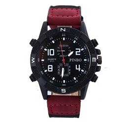 Pinbo Men Casual PU Leather Band Analog Quartz Military Sport Watch