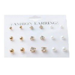 9 Sets New Fashion Round Shape Pearl Decorated Earrings For Women