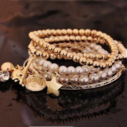 Multi-Layer Stars Eiffel Tower Small Bells Round Plate Pearl Golden Chains Bracelets For Women