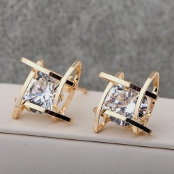Women Fashion Filled Zircons Earrings Charm Chic Square Hollow Out Earring Studs